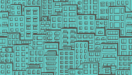 crowded street: Seamless urban pattern of doodle houses
