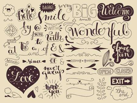 open type font: set of handlettering catchwords and signs, banners, design elements