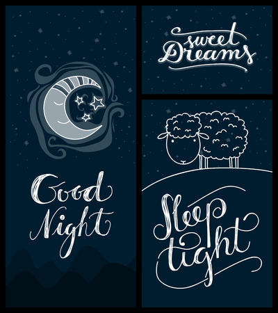 Cute night or sleeping related themed cards with hand-lettering