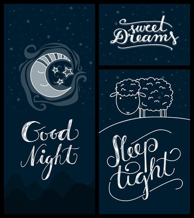 estrella caricatura: linda de la noche o dormir tarjetas tem�ticas relacionadas con la mano-letras Vectores