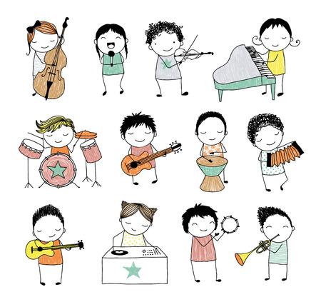 instrumentos musicales: colección de los niños doodle tocando diferentes instrumentos musicales