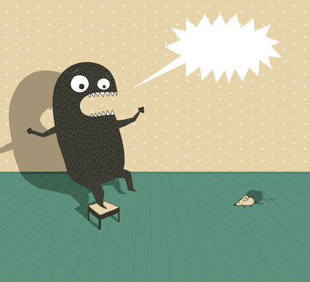 Illustration of a funny monster on a small chair screaming because he's scared by a little mouse