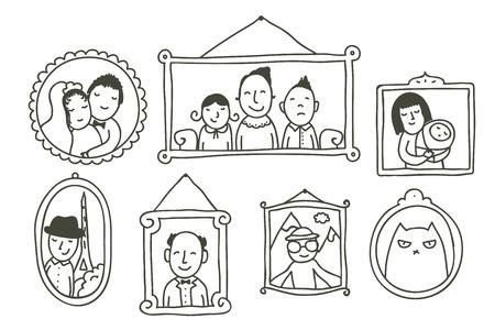 Cartoon von gerahmten Familienfotos an der Wand
