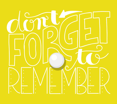 forget: Lettering of the quote dont forget to remember on a yellow background