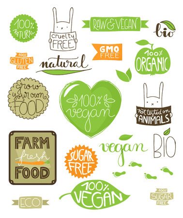 animal cruelty: Collection of environmental badges, labels and icons, all handdrawn with hand lettered text