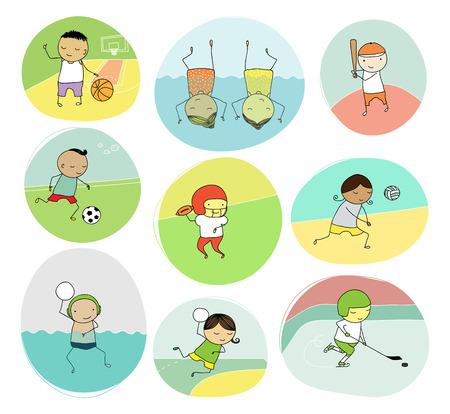 team sports: Conjunto de la ilustración ingenua de los niños que juegan diferentes deportes de equipo