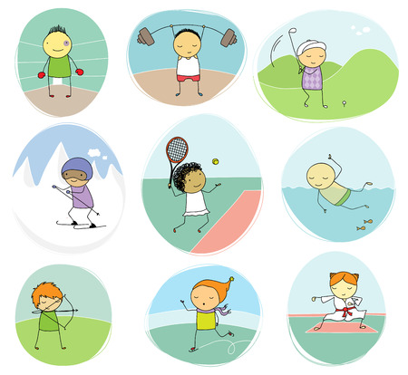 individual sports: set of naive illustration of children playing different individual sports