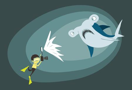 pez martillo: Ilustración de un niño buzo toma una foto de un submarino del tiburón martillo Vectores
