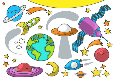 Cute illustration of outer space related elements on white background suitable for birthday card theme Illustration