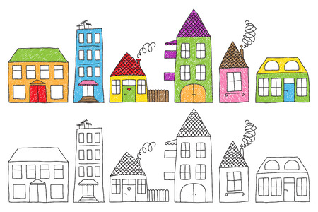 Set of naive childish drawing of different houses, colored imperfectly or not colored at all.