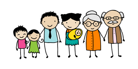 Childrens style drawing of a traditional family with children, parents and grandparents.