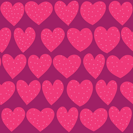 Seamless hand drawn dotted hearts pattern Illustration