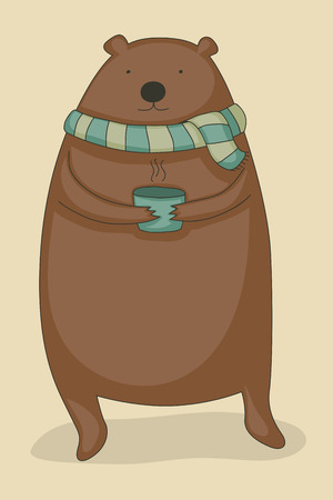warm clothing: Cute cartoon bear holding a hot cup of tea and wearing a scarf. Illustration