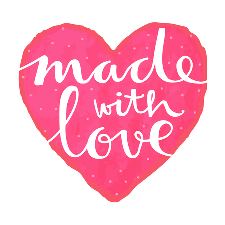 Cute hand lettering of the text made with love on a watercolor heart. Suiutable for handmade products label.