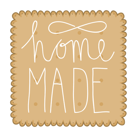 crispy: Illustration of a biscuit or cracker with hand lettering text saying home made. Illustration