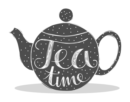 Cute tea pot with dots and the quote tea time hand written. Illustration