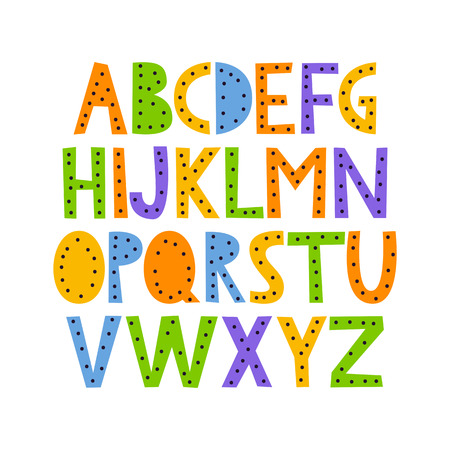 Cute and colorful childish hand drawn English alphabet, with dots. Suited for childrens birthday invitation or other fun design. Illustration