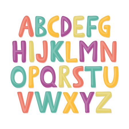 Cute and colorful childish hand drawn English alphabet. Suited for childrens birthday invitation or other fun design. Illustration