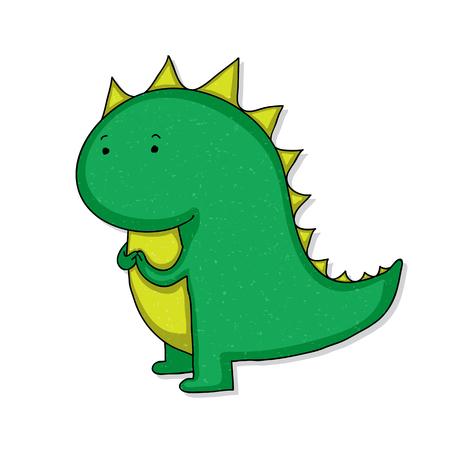 Funny childish cartoon baby dinosaur.
