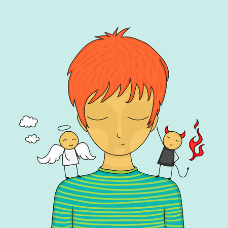 contradictory: Cartoon boy in doubt with small angel and devil on his shoulders trying to influence him. Illustration