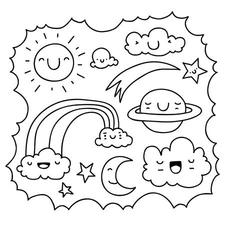 Patrón Lindo Monstruo Doodle Inconsútil Conveniente Para Colorear ...