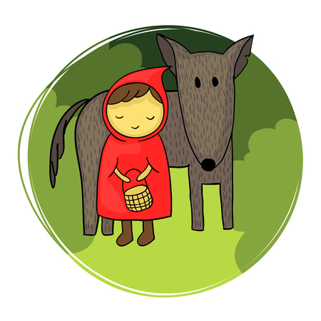 Cute and naive illustration of Little Red Riding Hood and the big bad wolf.