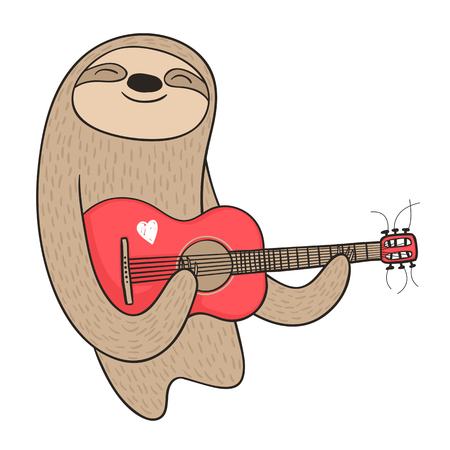 Illustration a cute sloth playing the guitar. Ilustração