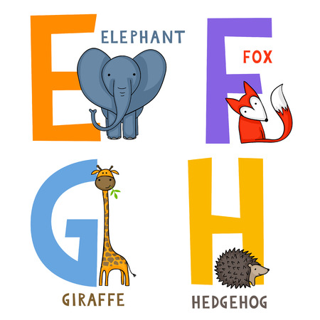 English animal alphabet E, F, G and H letters with cute cartoon elephant, fox, giraffe and hedgehog Illustration