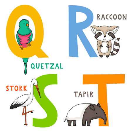 English animal alphabet Q, R, S and T letters with cute cartoon quetzal, raccoon, stork and tapir.