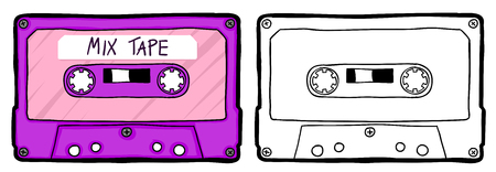 Colored and ouline version of a retro music casette tape