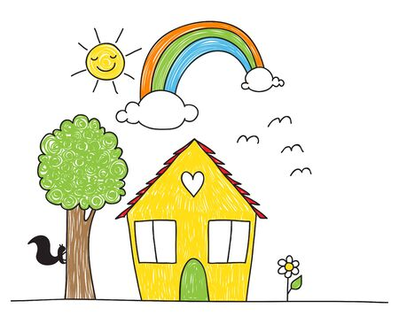 Cute childrens drawing style house, tree, flowers rainbow and sun.