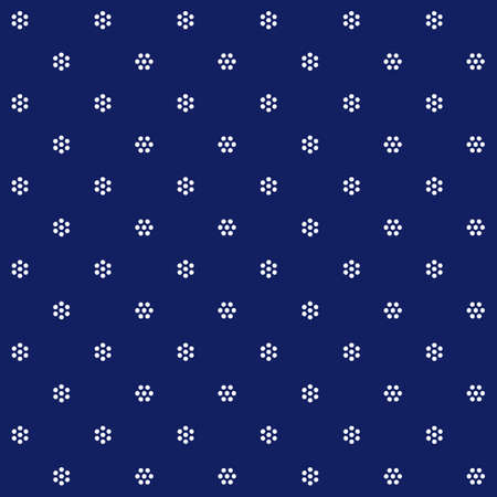 Traditional Hungarian indigo colored blue-dying pattern with small white flowers, also known as