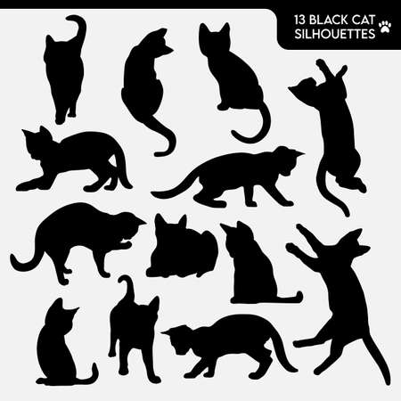 Collection of 13 black cat silhouettes.