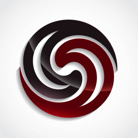 3d red and black swirl glossy icon design