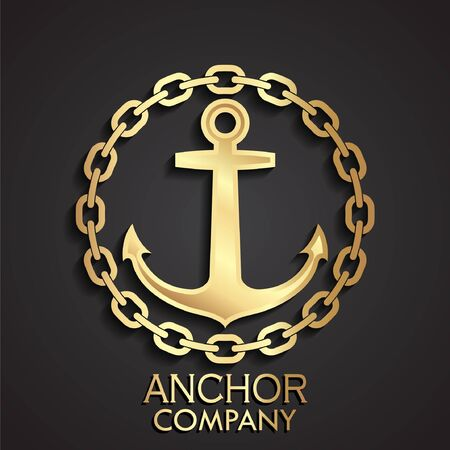 Anchor with chain circle golden icon