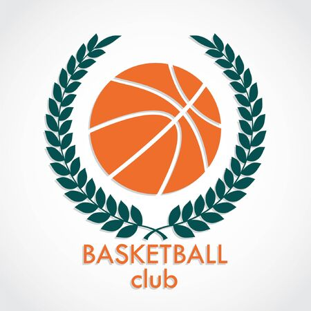 Basketball ball with laurel wreath Stock Illustratie