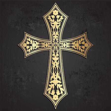 Ornamental golden cross on grunge dark background Imagens - 128632844