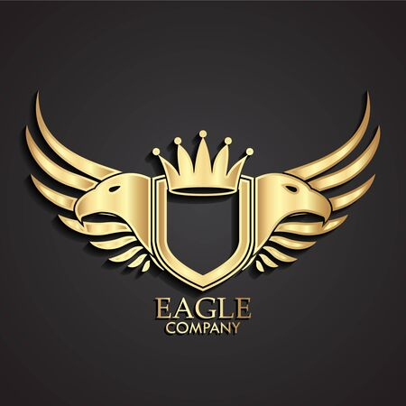 eagle heads and wings with crown 3d golden heraldry