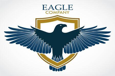 Eagle bird with shield heraldry symbol