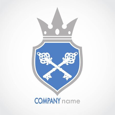 shield with crown and keys heraldry Stockfoto - 129211681