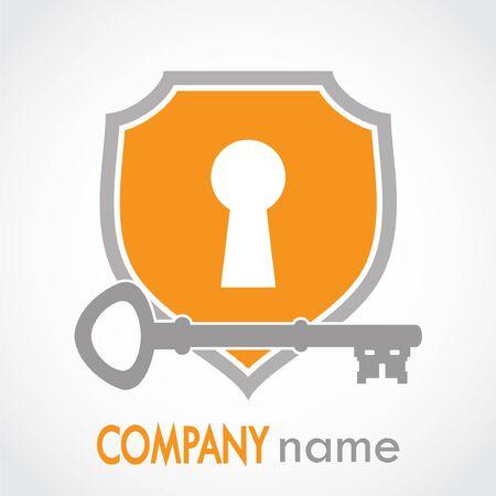 Key hole with shield orange
