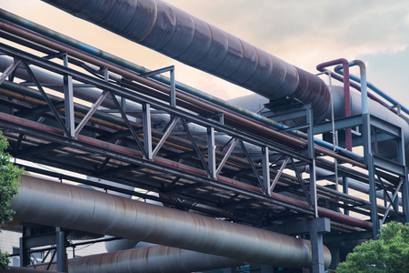 Landscape view of pipeline of a factory Stock Photo