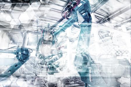 Een industriële robot in een workshop Stockfoto