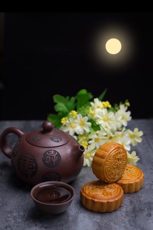 중국 중추절 달의 케이크 스톡 콘텐츠