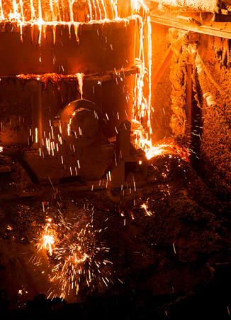 Melting steel in a factory