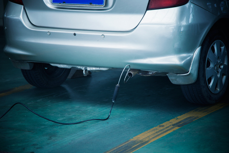 Automobile exhaust emission test 스톡 콘텐츠