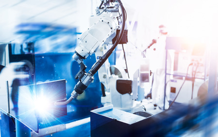 Automated welding machine close up view Stock Photo