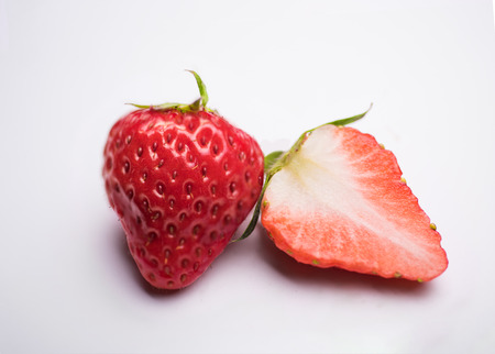 Two red strawberry close-up