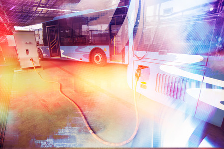 New energy electric buses are charging