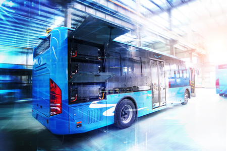 Pure electric buses in factories Banque d'images - 111011665